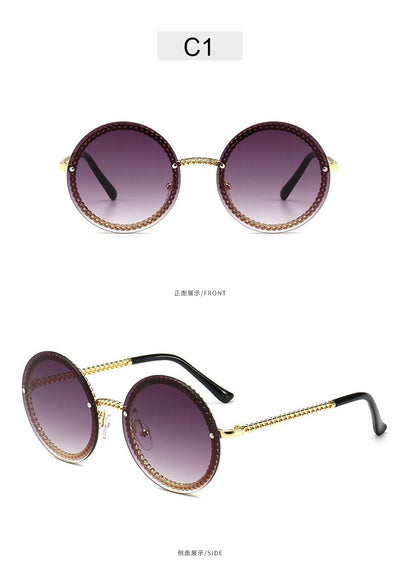 Vintage Fashion Round Sunglasses Women 2019 Luxury Brand Design Retro Rimless Frame Sun Glasses Lady Female Shades NO Chain