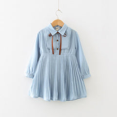 Long Sleeve Kids Dresses for Girls Preppy Style Pleated Girls Spring Fall Light Blue Dress  Children School Clothing