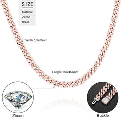8mm Men Iced Out Bling CZ Miami Cuban Link Chain Charm Choker Necklace Hip Hop Women Jewelry Pink Blue Trendy Fashion Necklace