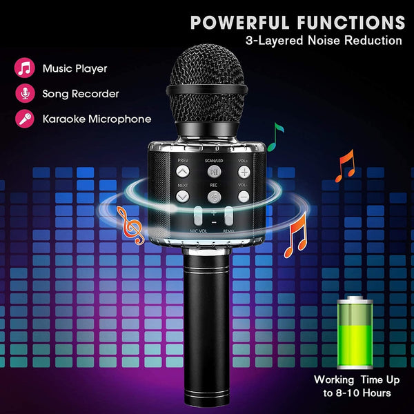 Portable Bluetooth Karaoke Microphone LED Studio Record Wireless Mic Speaker for Music Playing Singing for Household Karaoke