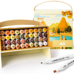 Arrtx ALP Yello Tone 40 Colors Alcohol Marker Pen Dual Tips Markers Perfect for Light, Flame, Harvest Wheat Fields, Fallen leave