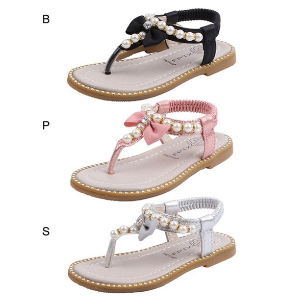 Summer Kids Infant Non-slip Soft Bottom Sandals Baby Girls Wild Bowknot Princess Sandals Slippers Clip Toe Beach Shoes New 2020
