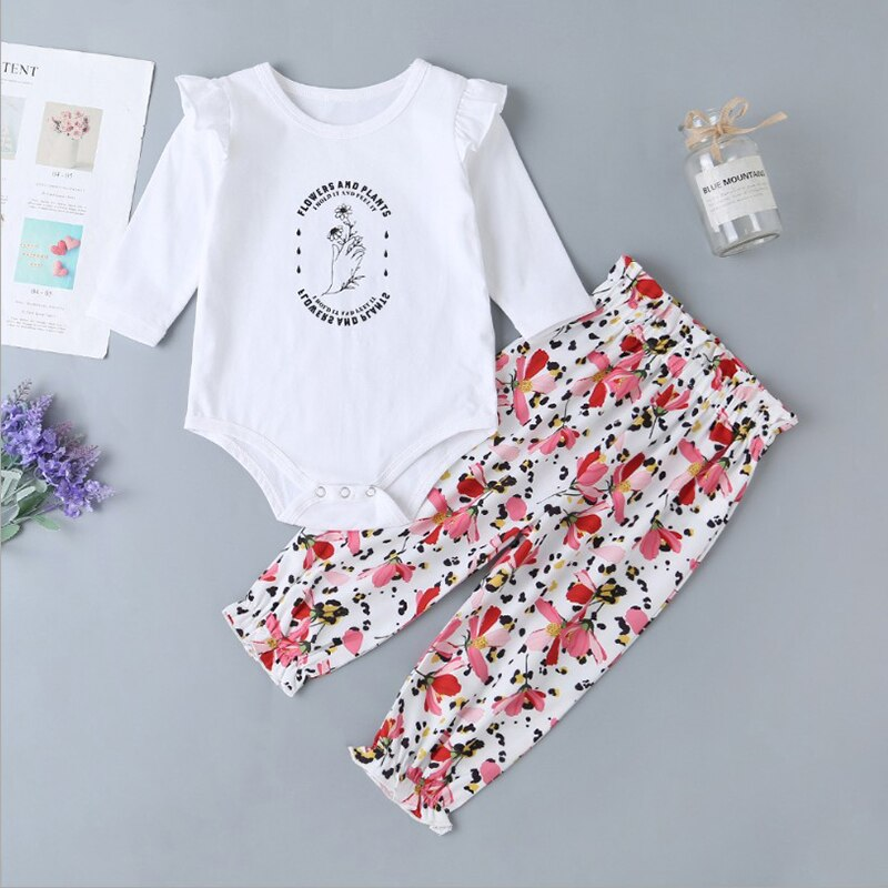 Girls Casual Newborn Baby Girl Outfits Ensemble  Fille Printed Long Sleeve Romper + Flower Printed Pants Set 86cm Hotting