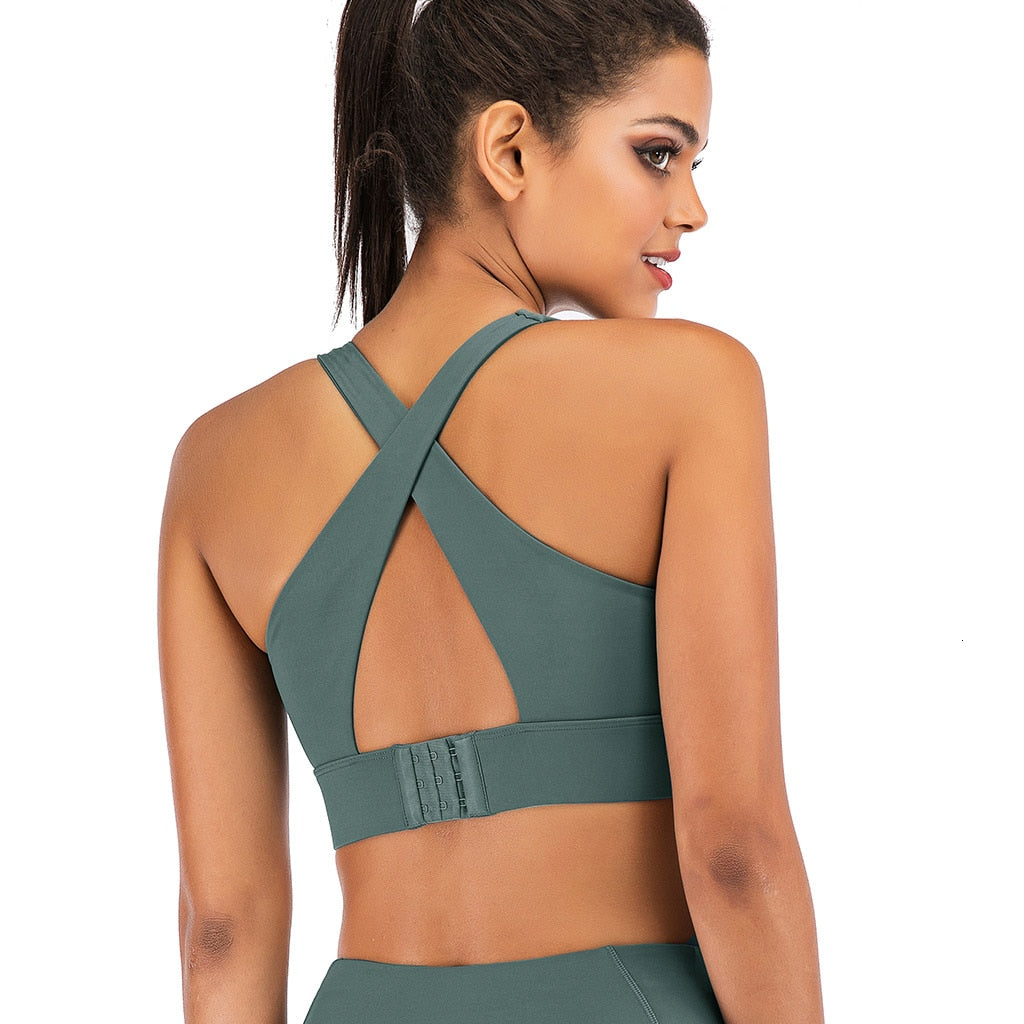 Seamless Yoga Bra Top Fashion Back Twist Slim Crop Top Sportswear Stretchy Quick Dry Breathable Workout Push-up GYM Fitness Top