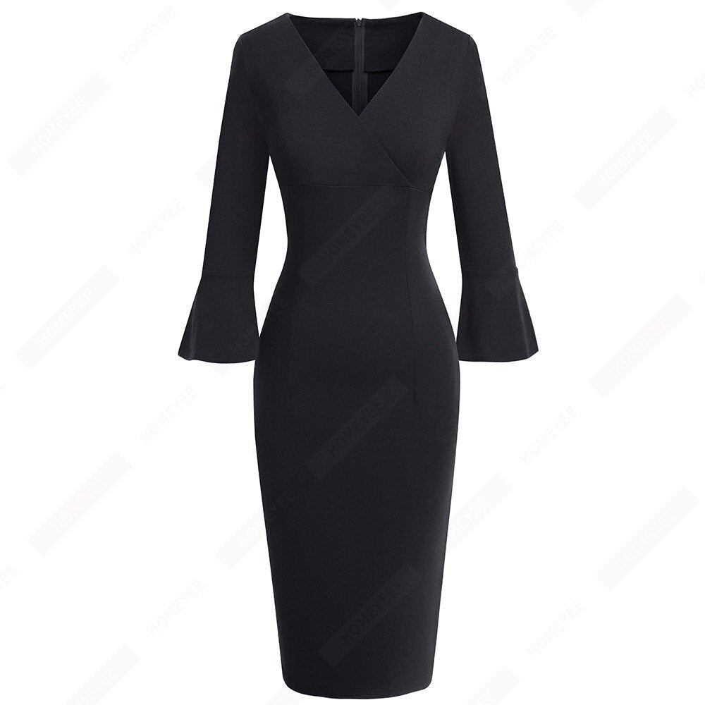 Women Sexy Deep V neck Elegant Horn sleeve Dress Business Slim Brief Pencil Dress