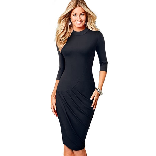 Women O-Neck Work Black Pencil Dress Classic Morden Slim Office Lady Dress