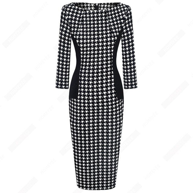 Vintage Women Elegant Fashion Pencil Dress Chic Formal Business Bodycon Dress