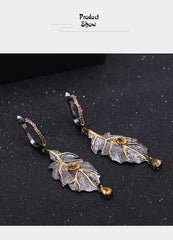 0.97Ct Natural Citrine 925 Sterling Silver Handmade Monstera Leaves Drop Earrings for Women Bijoux Georgia O'keeffe