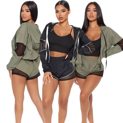 Autumn Sheer Mesh Patchwork Hooded Three Piece Set Women Sports Clothing Long Sleeve Zipper Jacket And Shorts Suit Running Set