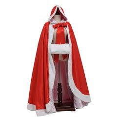 Women Red Wedding Hooded Cloak Faux Fur Trim Satin White Medieval Bridal Winter Cape