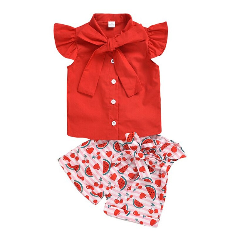 Autumn Three-piece Baby Cute Eyelash Print Suits Sleeveless Lady Jacket Printed Shorts Two-piece Children's Suit