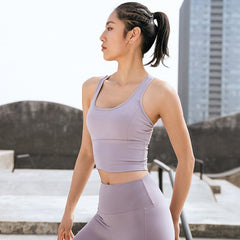Seamless Sports Gym Tank Crop Top Push Up Workout Cross Thin Shoulder Beauty Back Solid Shockproof Training Fitness Running Vest