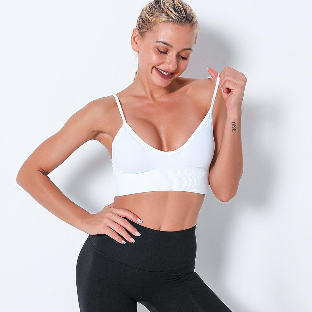 Seamless Sports Gym Bra Crop Top Push Up Workout Beauty Back Solid Top Shockproof Training Fitness Running Vest Crop Casual Top
