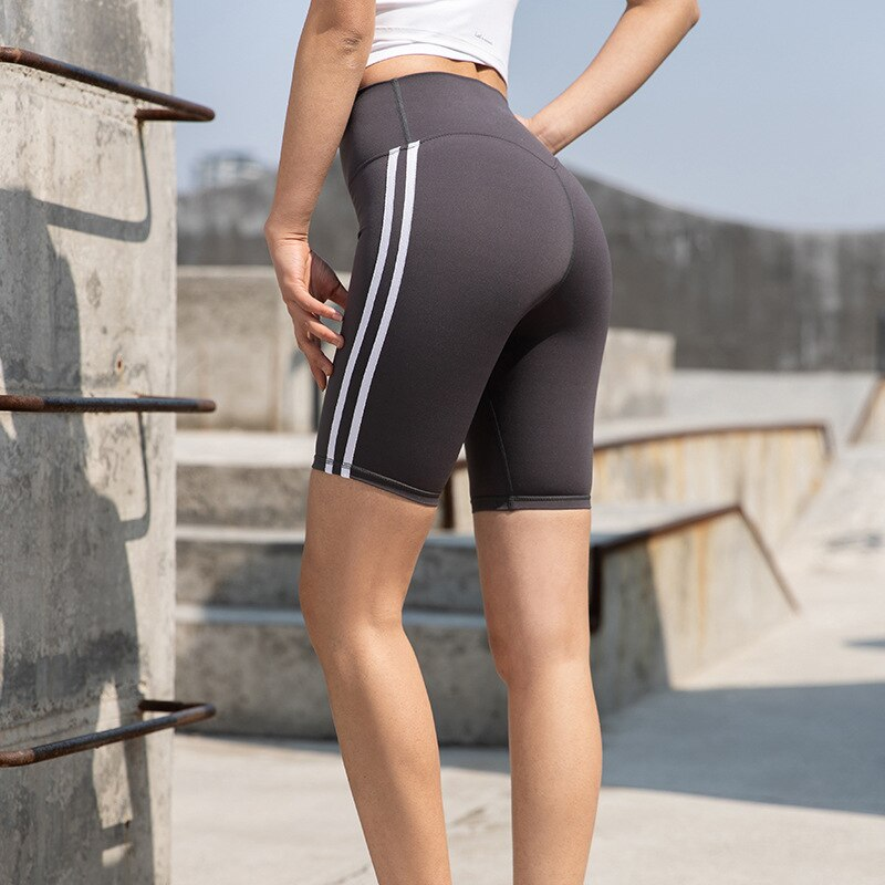 Striped Seamless Yoga Shorts Biker High Elastics Hip Lifting Shorts Workout Push Up Gym Running Shorts Casual Female Outfits