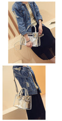 Fashion Transparent Women Shoulder Bags Composite Bag for Female Shopping Wallet Phone Handbags High Quality