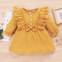 0-3Y Toddler Kids Baby Girl Autumn Dress Ruffles Long Sleeve Solid Cotton Linen Party Casual ButtonDress Clothes Sundress D30