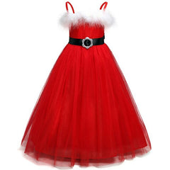 Red Christmas Girls Princess Dress White Plush Kids Sling Dresses for Girls 2 3 4 5 6 Year Toddler Baby Children Outfits
