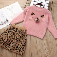 Girls Skirt Set  Fall Winter Kids Clothes for Girl Fashion Leopard Sweater Knitting Children Clothing Toddler Suits