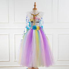 Sequined Girls Cape Children Princess Cloak Performance Mermaid Fairy Outerwear Toddler Kids Party Clothing