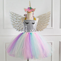 Girls Princess Dress Prom Performance Party Colorful Sequined Mesh Kids Dresses with Wing Hair Band 3pcs Children Costume