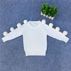 White Girls Sweaters 1 2 3 4 5 Year Baby Chunky Knit Hairball Sweater New Fall Winter Toddler Kids Outerwear Tops Clothes