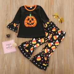 1 2 3 4 5 Year Girls Spring Fall Clothes Turkey Pumpkin Kids Halloween Suits for Girl Flared Sleeve Cotton Children Clothing Set