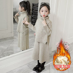 Girls Clothing Set Fall Winter Kids Knitted Clothes Turtleneck Sweater Wide Leg Pant Two Piece Toddler Teens Children Suits