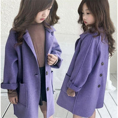 High Quality Worst Girls Coat Long Style Fall Spring Children Outerwear Fashion Solid Color Toddler Teens Kids Jackets Clothing
