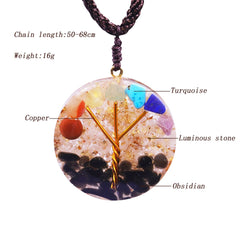 Tree Of Life Orgone Pendant Rainbow Crystal Stones 7 Chakra Reiki Healing Energy Generator Emf Radiation Protection Necklace