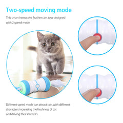 Interactive Cat Feather Toys Indoor Automatic Irregular Moving LED Lights USB Rechargeable Kitten Cats Pet Supply