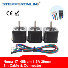 Nema 17 Stepper Motor 39mm 42BYGH 1.5A(17HS4401S) Motor 45Ncm Nema17 Stepping Motor 4-lead w/1m Cable & Connector for 3D Printer