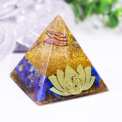Lotus Meditation Orgonite Pyramid Energy Stone Lapis Lazuli Healing Pyramid Craft Orgone Ornaments