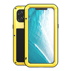 LOVE MEI Compatible for iPhone 12 Pro Max Case,Aluminum Metal Gorilla Glass Shockproof Military Heavy Duty Sturdy Cover