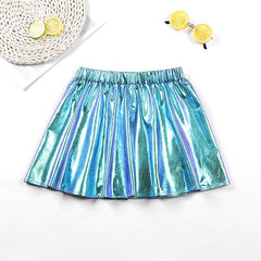 Glossy Girls Skirt Spring Summer Kids Pleated Skirt for Girls 3 4 5 6 7 8 9 10 11 12 Year Children Clothing