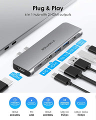 USB C Portable Hub with 60W Power Delivery, Dual 4K HDMI for Multiple Screens Display, 2 USB 3.0 & USB C Data for MacBook Pro 13