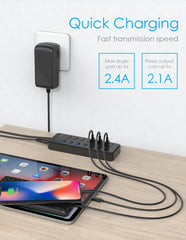 7 Ports USB 3.0 Hub Splitter with 4 Port USB Hub + 3 USB Fast Charging Port, 36W (12V/3A) Power Adapter and Individual On/Off