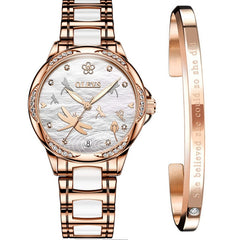 Watch for Women luxury Automatic Mechanical butterfly ceramics with Stainless Steel lady watch 6610