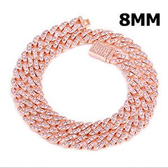 6/8/9mm Micro Pave Miami Cuban Link Chain Necklace Full Of Crystal Luxury Bling Choker Jewelry Iced Out Punk Women Men Chains
