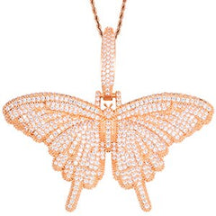 Iced Out Sparking Bling CZ Butterfly Pendant Necklace Charm Choker AAA Cubic Zircon Hip Hop Women Jewelry Tennis Chain Gold Pink