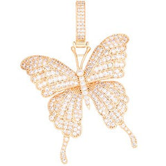 Women Butterfly Pendant Necklace Iced Out Link Chain Choker Necklace Bling Hip Hop Pendant Jewelry New Year Party Gifts