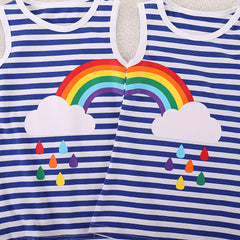 Girls Sisters Dress  Summer Rainbow Striped Kids Clothes for Girl 2 3 4 5 6 Year Baby Toddler Children Costume