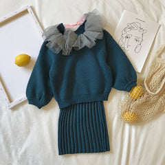 Girls Sweater Set Knitted Coat + Slip Dress Two Piece Winter Spring Kids Clothes for Girl Fashion Children Suits