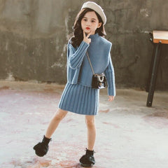 Fashion Girls Boutique Suit Knitted Sweater Dress Vest Two Piece Kids Clothes for Girl Toddler Teens Children Clothing Set