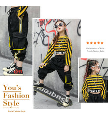 Fashion Hip Hop Girls Clothes Striped Yellow Shirts Black Cargo Pant Two Piece Children Clothing Set Spring Fall Kids Suits