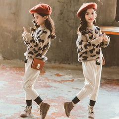 Girls Clothing Set Fashion Leopard Sweater Woolen Pants Winter Spring Kids Clothes for Girl Toddler Teens Children Suits