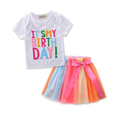 Girls Birthday Party Clothes Letter White T-shirt Rainbow Tutu Skirt Kids Suits Long Sleeve Spring Fall Children Clothing Set