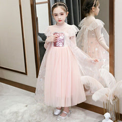 Knitted Long Sleeve Winter Spring Kids Dresses for 2 3 4 5 6 7 8 9 10 Year Girl Blue Snowflake Toddler Children Party Costume