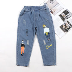 Girls Jeans Cartoon Prints Elastic Waist Kids Denim Pant 3 4 5 6 7 8 9 10 11 12 Teens Children Spring Summer Trousers