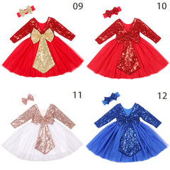 Girls Sparkle Dress Long Sleeve Children Princess Wedding Birthday Party Costume Backless Bow Kids Clothes with Headband
