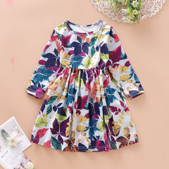 Girls Dress Long Sleeve Maple Leaf Prints Casual Kids Spring Fall Clothing Arrivals A-line Cotton Children Dress